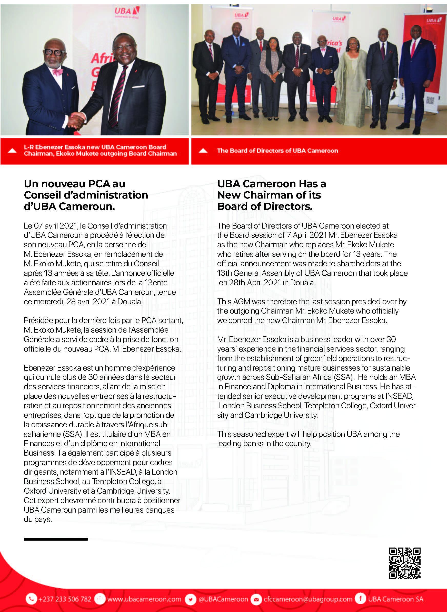 new chairman uba cameroon